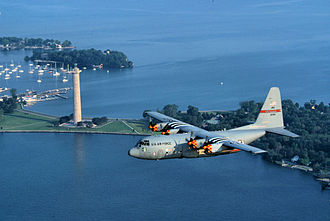 179th Airlift Wing - A 179th AW C-130H flying past Perry's Memorial, 2008.