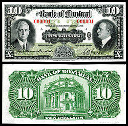 Bank of Montreal, 10 dollars (1935)First note printed for the series.
