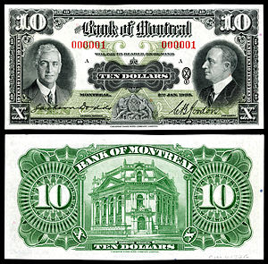 Canadian dollar - Image: CAN S559 Bank of Montreal 10 Dollars (1935)