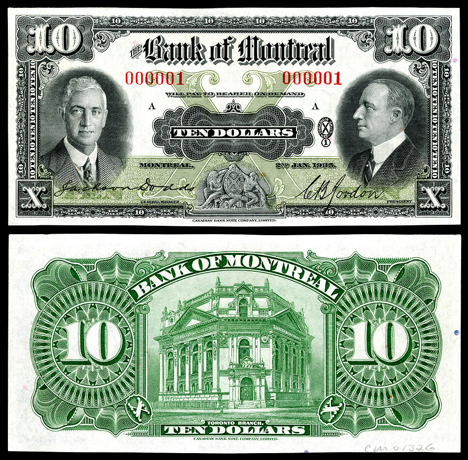 Charles Blair Gordon depicted on the first 1935 Bank of Montreal, 10 dollar note printed.