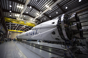 SpaceX CRS-6 - Falcon 9 and Dragon undergoing preparations in Florida in advance of launch to the International Space Station.