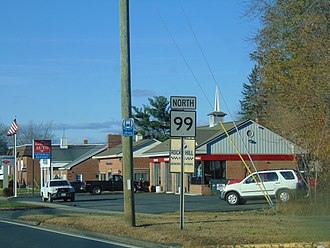 Connecticut Route 99 - CT 99 in Rocky Hill.