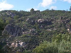 Aguiar da Beira - The terrain around Caldas-da-Cavaca, showing the rugged rock-outcroppings near the train terminal