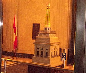 Canada Life Building - Model of the weather beacon in the lobby of the building
