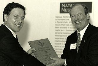 Karim Alrawi - Karim Alrawi receives Canadian National Playwriting Award 1999 from John Tennant, Canadian Consul, MI, USA