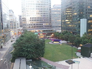 public square at Canary Wharf, on the Isle of Dogs in London