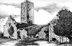 "The ruins of Canon Island Abbey, as depicted in ""The History and Topography of The County of Clare"" by James Frost (1893)"