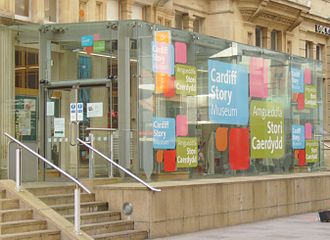 Old Library, Cardiff - The entrance to the Cardiff Story Museum in January 2016