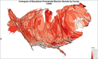 Cartogram of Republican presidential election results by county
