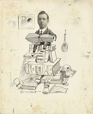 """John Alexander Ferguson - Cartoon of John Alexander Ferguson by Cecil Lawrence Hartt, 1910's. Titled """"J.A.F., Barrister and Book Collector,"""" published in Sydneyites As We See 'Em, 1915. Ferguson later authored the seven-volume Bibliography of Australia."""