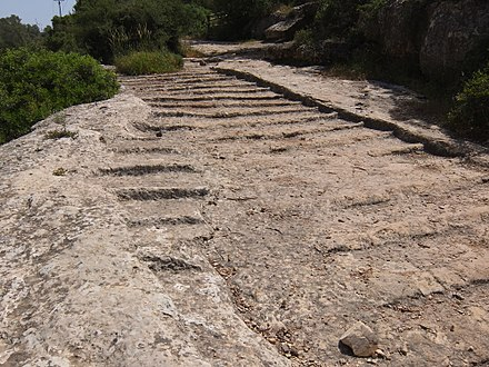 Old Roman road, leading from Jerusalem to Beit Gubrin, adjacent to regional highway 375 in Israel