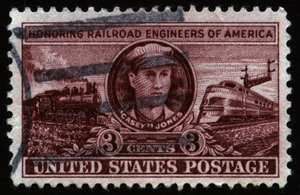 Passing loop - Casey Jones as depicted on a 3 cent postage stamp issued by the United States Postal Service