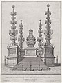 Catafalque for Pope Clement X; central structure at the top of a fifteen step platform, with columns surmounted by candelabra at each of the four corners MET DP875167.jpg
