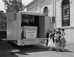 "Roman Catholic Diocese of Richmond - Catholic ""church on wheels"" in Richmond, 1955"