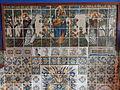 Cau Ferrat (planta baixa) 40 Plafó de rajoles. Mare de Déu del Roser flanquejada per sant Domènec i Sant Pere de Verona.JPG