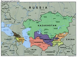 Caucasus Central Asia Political Map, 2000