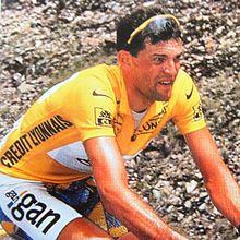 Cédric Vasseur avec le maillot jaune sur le Tour de France 1997