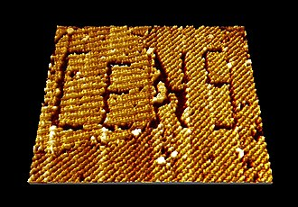 Scanning tunneling microscope - Nanomanipulation via STM of a self-assembled organic semiconductor monolayer (here: PTCDA molecules) on graphite, in which the logo of the Center for NanoScience (CeNS), LMU has been written.