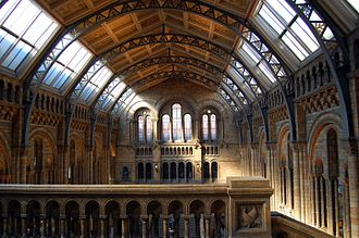 Victorian architecture - Central Hall of the Natural History Museum, London. Note the cast-iron arches supporting the roof.