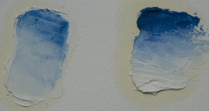 Cerulean - Cerulean Blue in oil, as a glaze left and the mass tone right