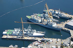 English: Aerial photograph of Canadian warship...