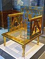 Chair of Queen Hetepheres (reproduction), Egypt, Giza, tomb G 7000 X, Dynasty 4, reign of Khufu, 2551-2528 BC, cedar, faience, gold foil, copper, cord - Harvard Semitic Museum - Cambridge, MA - DSC06052.jpg