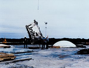 Cape Canaveral Air Force Station Launch Complex 31 - Remains of Challenger lowered into silo at LC-31