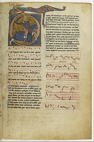 Chansonnier du Roi - Page of a manuscript of the Chansonnier du Roi kept at the BnF.