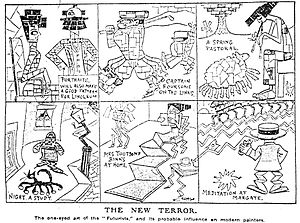 "Robert René Meyer-Sée - ""The New Terror"". Cartoon by Charles Harrison lambasting Futurist art. Daily Express, 4 March 1912."