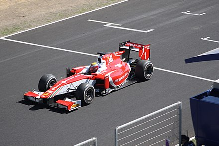 Leclerc leading the Jerez feature race, on his way to winning the Formula 2 championship Charles Leclerc Jerez 2017.jpg