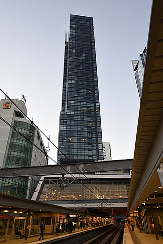 Chatswood railway station - The platforms, part of the shopping centre and one of the apartment towers.