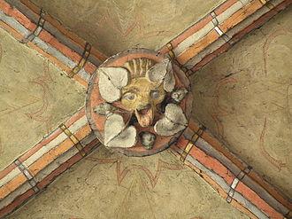 Boss (architecture) - Rib vault keystone with boss, in church of Virgin Mary in Chełmno