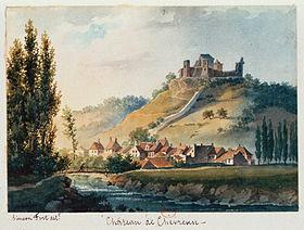Le château au XIXe siècle, dessin de Siméon Fort