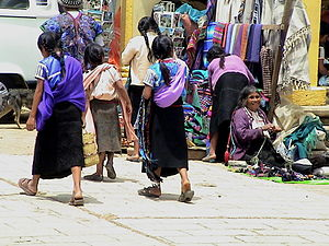 Tzotzil people - Tzotzil women on a street in San Juan Chamula