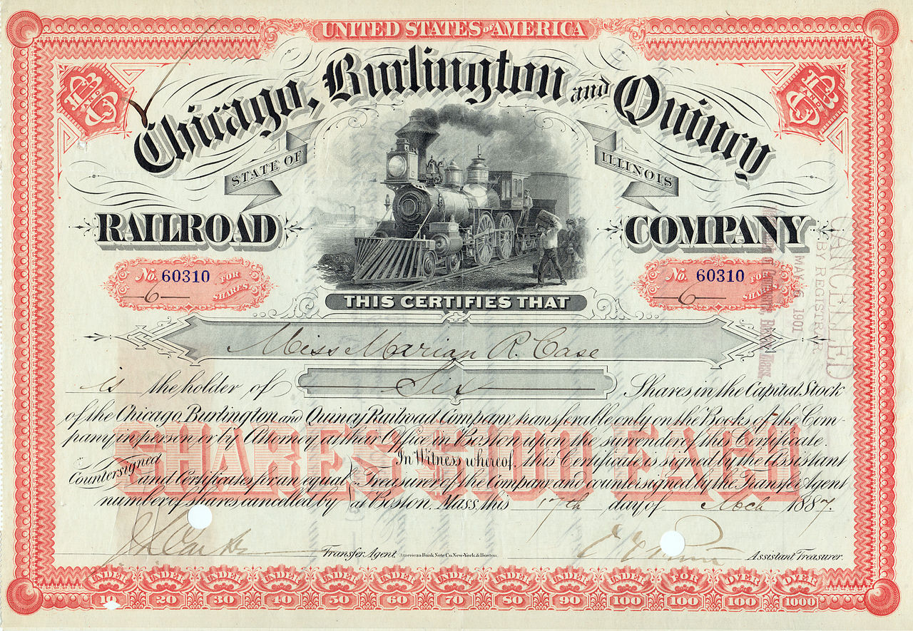 Chicago, Burlington & Quincy Railroad Stock Certificate 1887.jpg