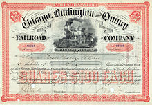 Chicago, Burlington & Quincy Railroad Stock Certificate 1887.jpg