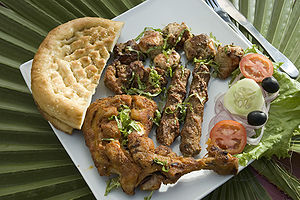 Barbecue chicken - Indian chicken tikka with a variety of other dishes cooked by barbecueing