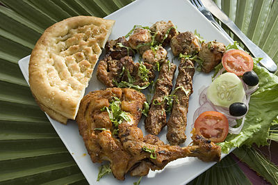 A Pakistani dish prepared using the tandoori method Chicken Tikka.jpg