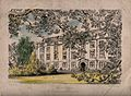 Christ Church, Oxford; from the gardens. Coloured etching by Wellcome V0014087.jpg