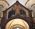 Ciborio di sant'ambrogio, con stucchi del IX secolo, ambrogio tra i ss. gervasio e protasio e due devoti benedettini 02.jpg