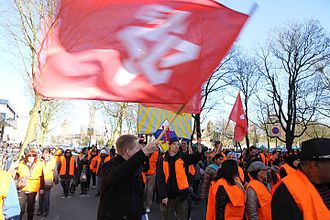 Communist Youth Movement (Netherlands) - CJB members at a trade union action