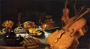 Sense - An allegory of five senses. Still Life  by Pieter Claesz, 1623. The painting illustrates the senses through musical instruments, a compass, a book, food and drink, a mirror, incense and an open perfume bottle. The tortoise may be an illustration of touch or an allusion to the opposite (the tortoise isolating in its shell).