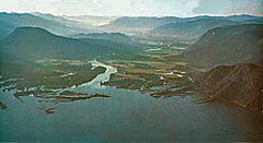 Clark Fork (located to the left/north) of the Clark Fork River, which runs down the middle
