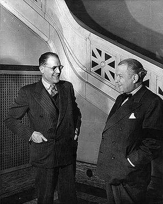 Conservatoire de musique et d'art dramatique du Québec - Claude Champagne (left) and Wilfrid Pelletier (right) at the opening of the Conservatoire de musique du Québec à Montréal in 1943.