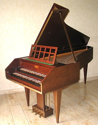 Contemporary harpsichord - A heavy-framed mid-century harpsichord by the Sperrhake firm. Such instruments were harshly criticized during the 1960s by Zuckermann, who described their sound as feeble and their appearance as tubby, a betrayal of the tradition of beauty seen in historical instruments.