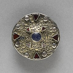 Filigree Disk Brooch with Central Boss