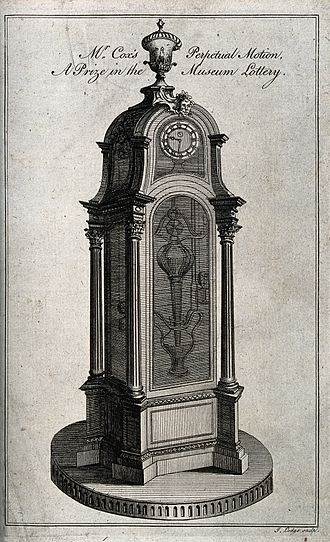 Cox's timepiece - drawing of Cox's perpetual motion
