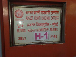 August Kranti Rajdhani Express - Coachboard - 12953 August Kranti Rajdhani Express