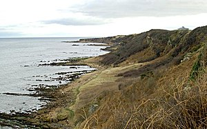 Kinkell, Fife - Coastline by Kinkell Looking towards Kinkell Ness. The pagoda is part of the Fairmont Hotel on the new golf course