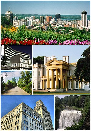 Six photos of Hamilton's landmarks, which include a wide view of Downtown Hamilton, City Hall lit up at night, a walkway with a lamp at Bayfront Park, a front view of Dundurn Castle, the Pigott Building in front of a blue sky and Webster's Falls with greenery on either side.